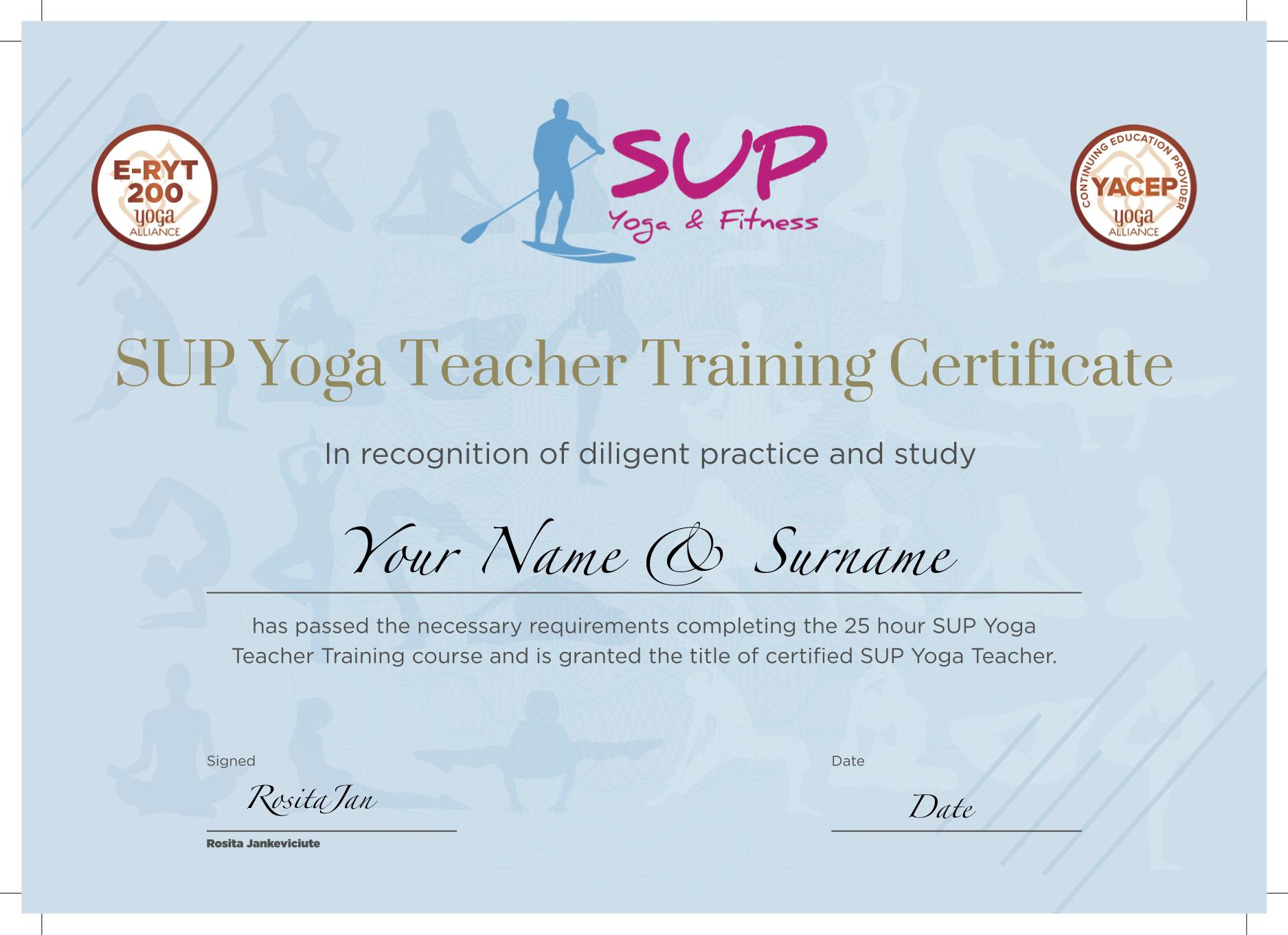 Certificate sample for SUP Yoga Teacher Training